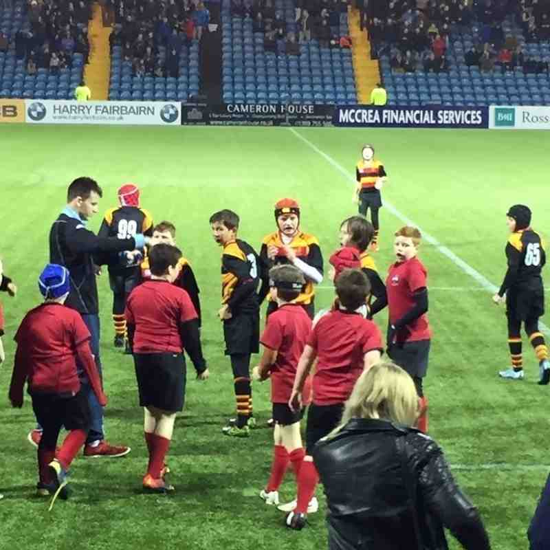 P6/7 with Warriors at Rugby Park Kilmarnock