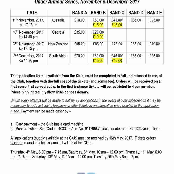 International Tickets, Under Armour Series, 2017