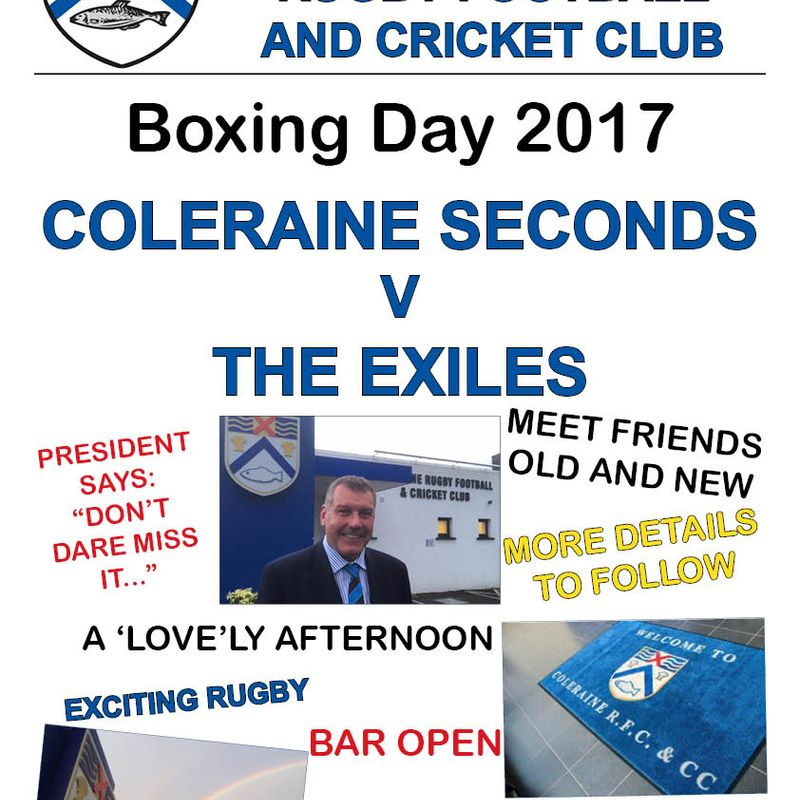 BOXING DAY RUGBY - COLERAINE v EXILES-Want to play?