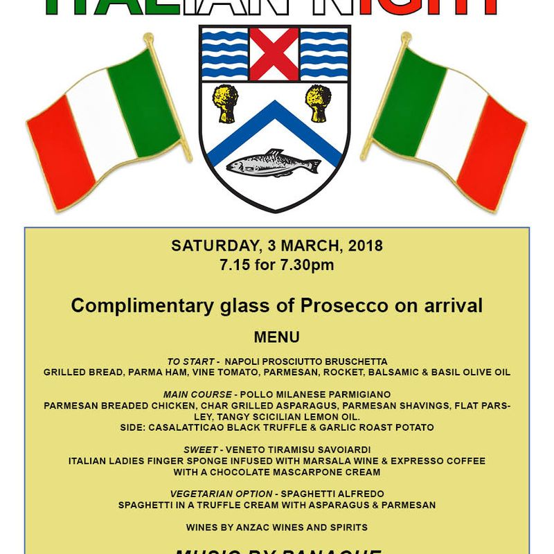 Italian theme night at the club....... 3 March