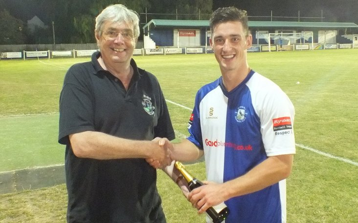 Steve Barton- presenting the man of the match award