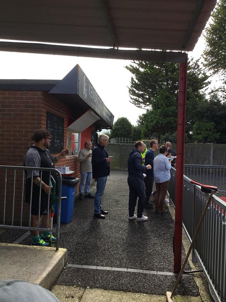 Worthing FC supporters drink lots of tea in between cleaning, cutting grass and generally tidying up Woodside Road- image courtesy of Worthing FC Facebook