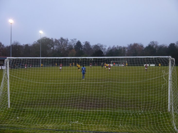 The view from behind the Scholars goal