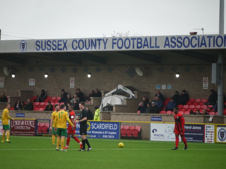 The- sadly sparsely populated- main stand at Culver Road