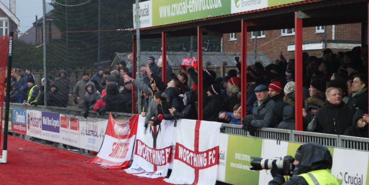 Worthing fans celebrate beating Billericay Town