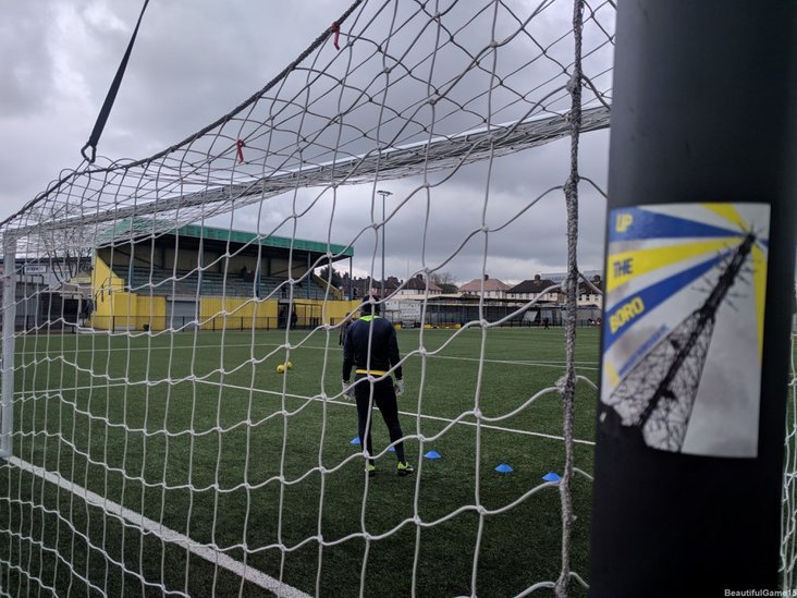 The back of the net at Haringey Borough- the ball ended up there six times