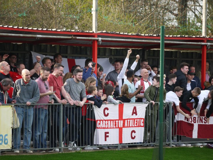 Carshalton Athletic fans celebrate promotion