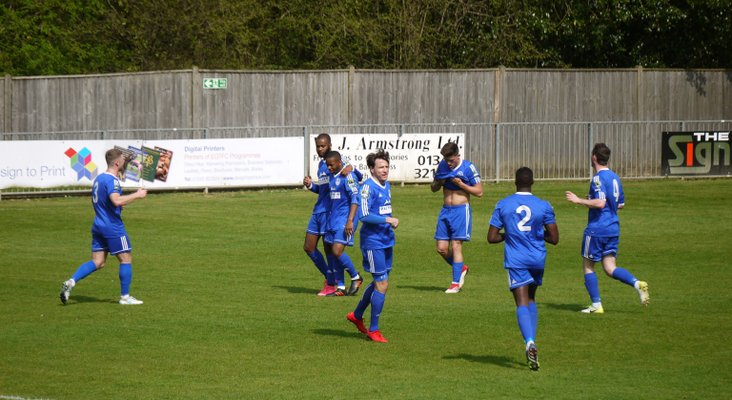Zak Ansah of Hythe (pink boots) takes the plaudits