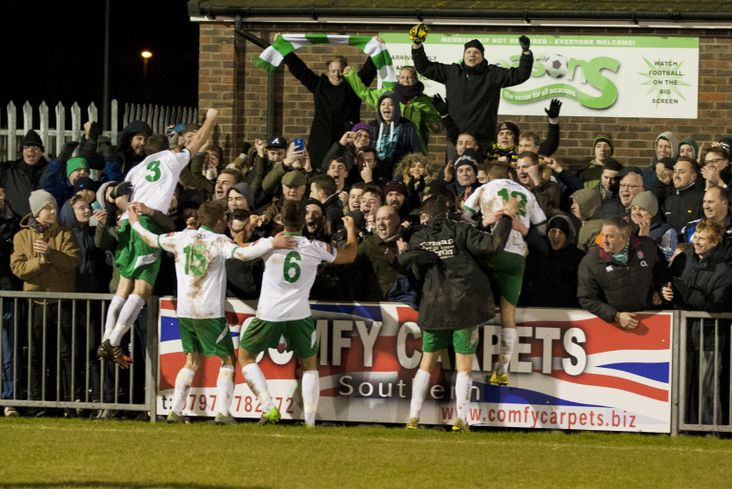 Bognor taking on Sutton United in the FA Trophy- image from Tommy McMillan