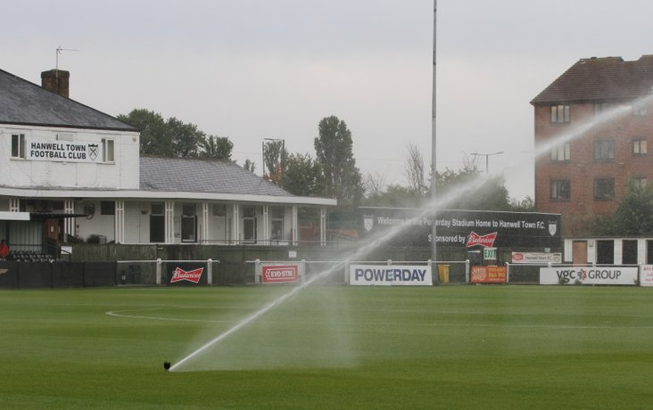 Hanwell Town's new irrigation system in action