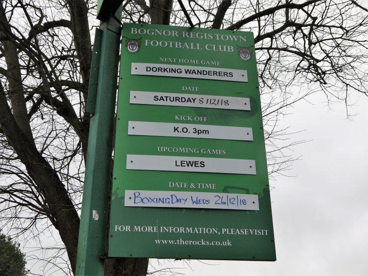 The Bognor December schedule