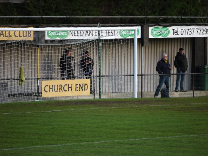 Not many worshippers behind the goal