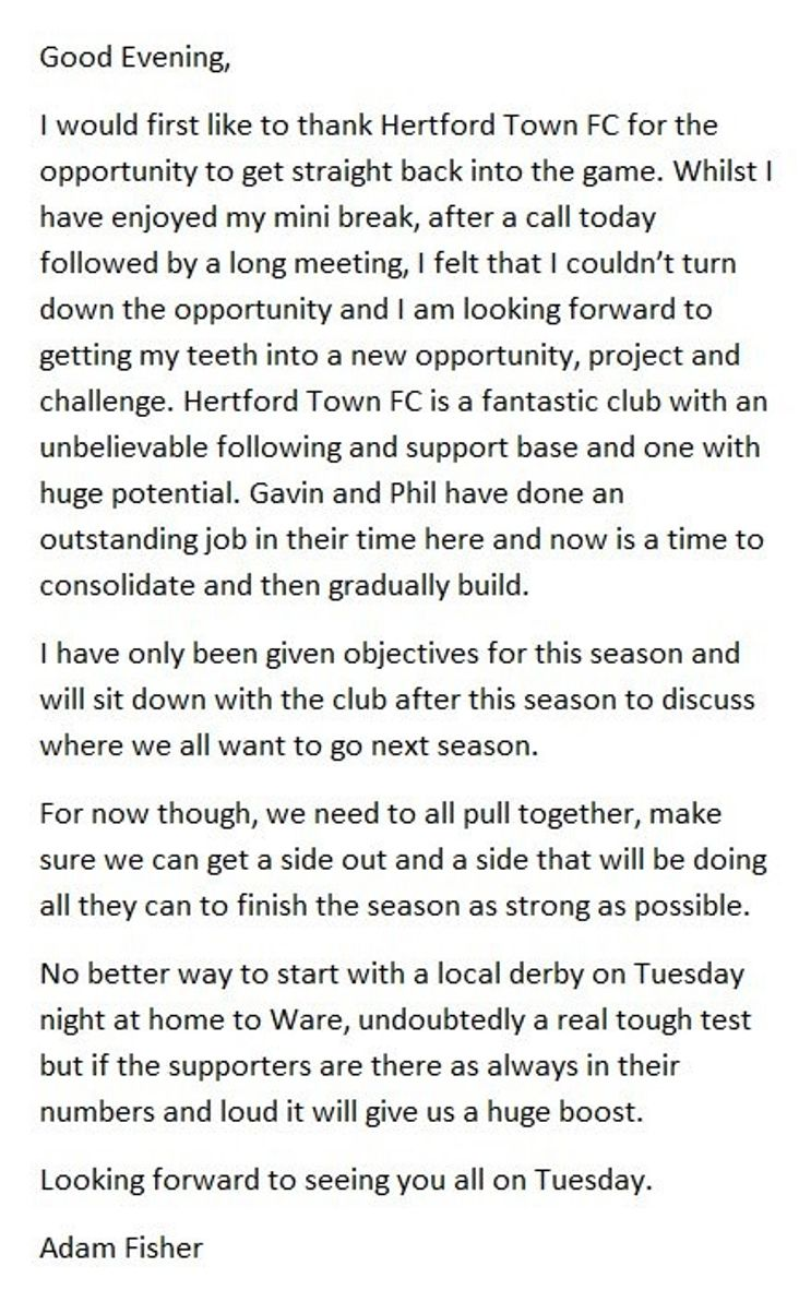 Adam Fisher- statement released on being appointed manager at Hertford Town