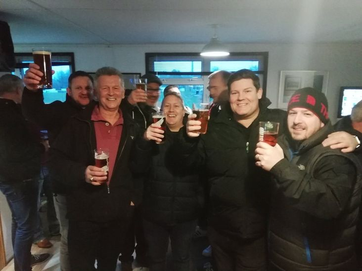 Faversham fans celebrate their win