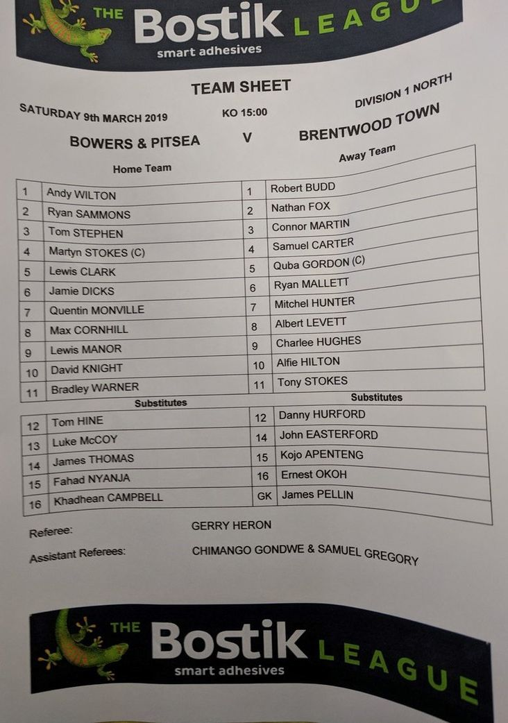 Bowers & Pitsea v Brentwood Town 090319