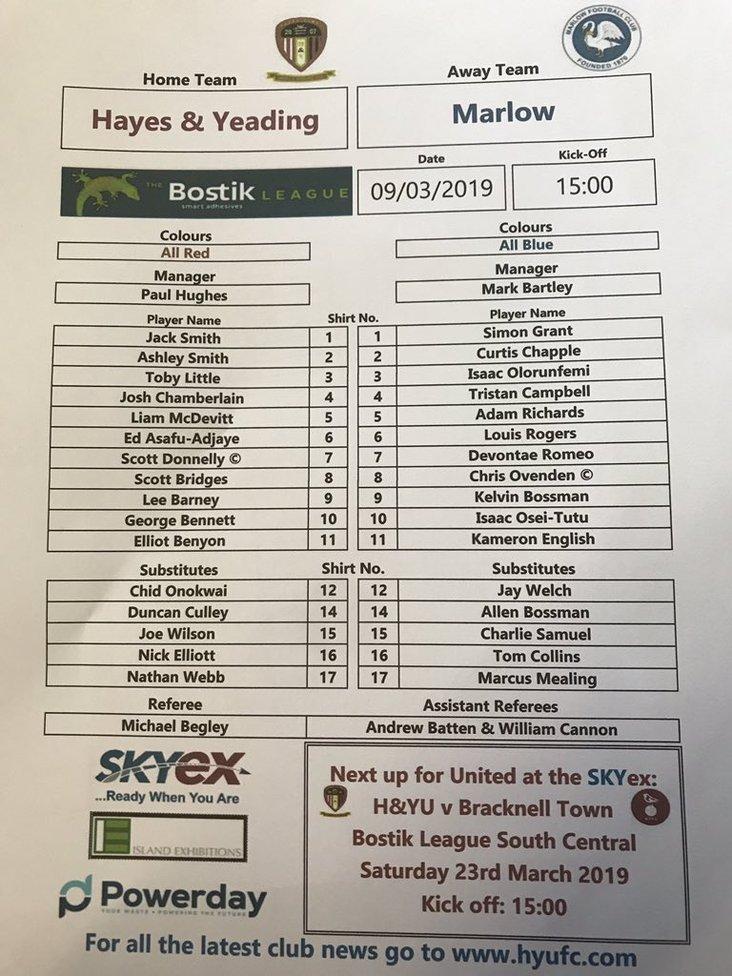 Hayes & Yeading Utd v Marlow 090319