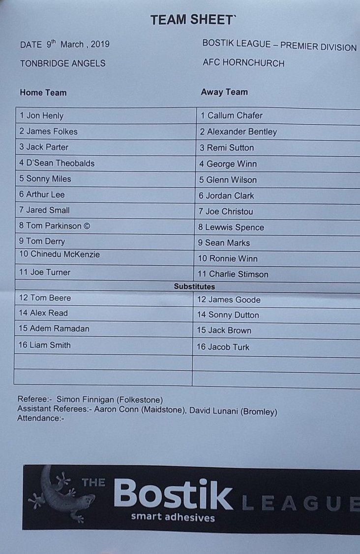Tonbridge Angels v AFC Hornchurch 090319