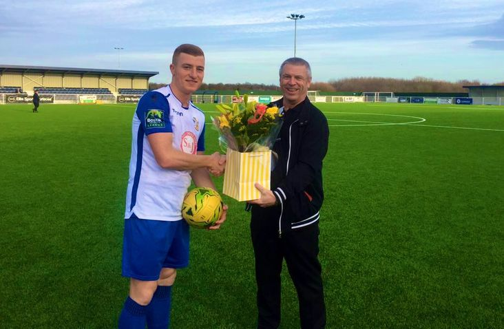 Sam Bantick with matchball, flowers and Craig Johnson- he doesn't get to keep Craig!