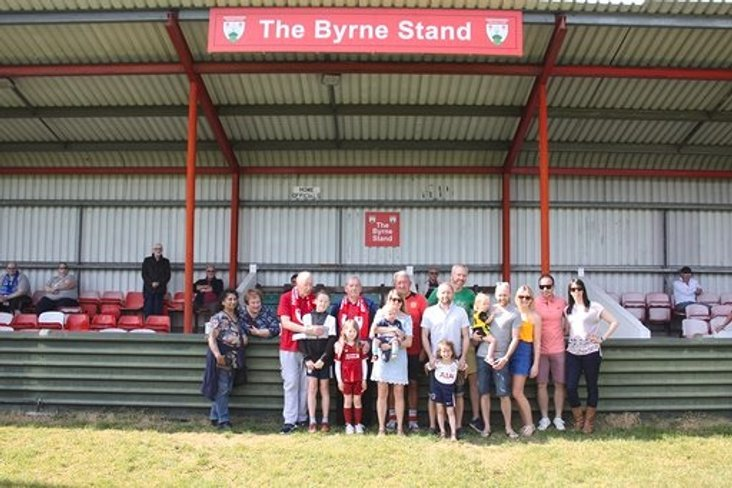 The unveiling of the newly named Byrne Stand at Northwood FC