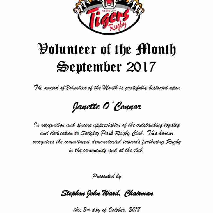 Volunteer of the Month Award, September