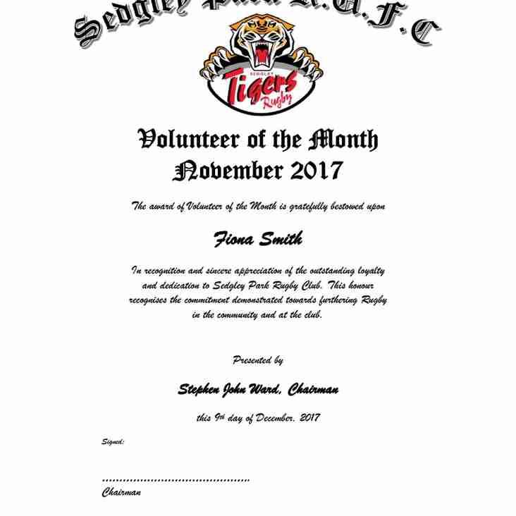 Volunteer of the Month Award, November