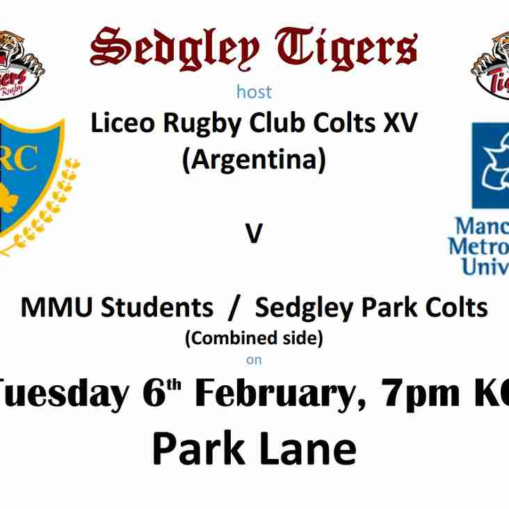Sedgley host Liceo Rugby Club Colts, from Mendoza, Argentina