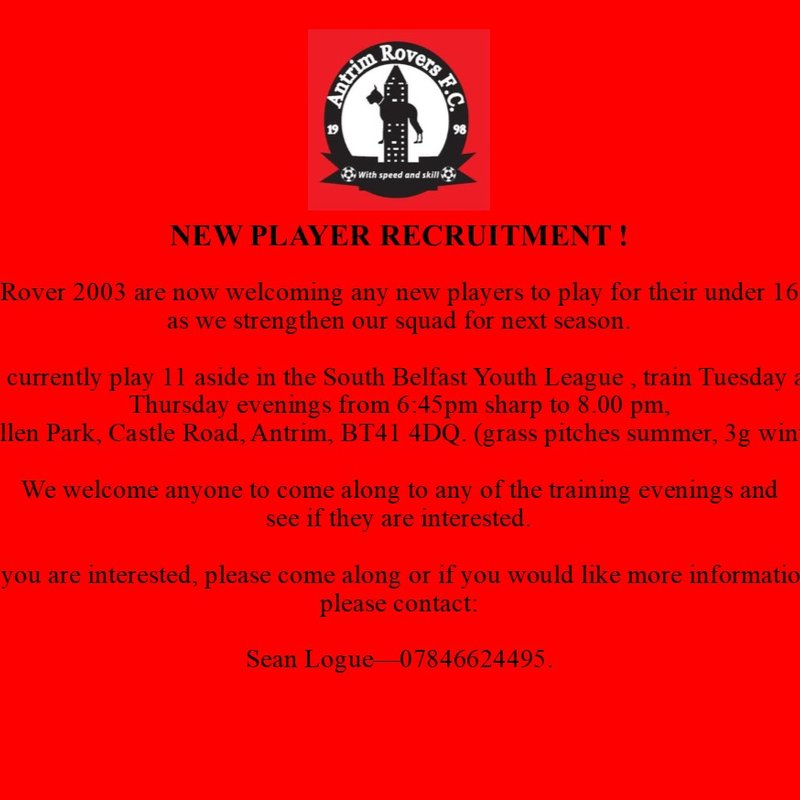 NEW PLAYER WELCOME FOR U16'S (DOB 2003)