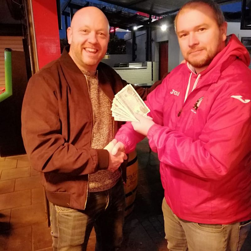 Club Lottery Runner up Mike Sloan Receiving his £100 winnings
