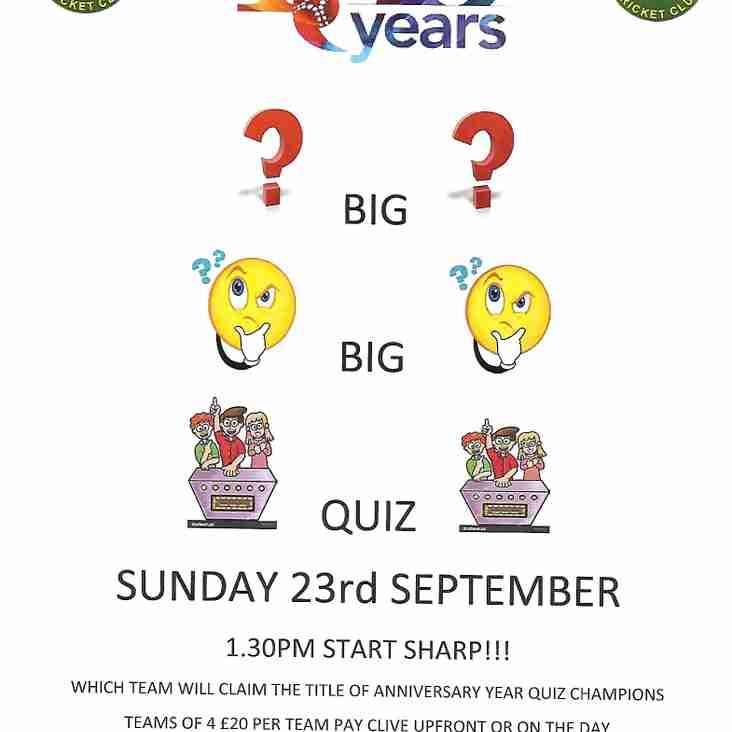 Frazer's Big Anniversary Quiz - this Sunday!