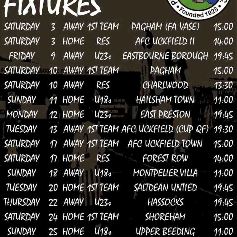 November's fixtures