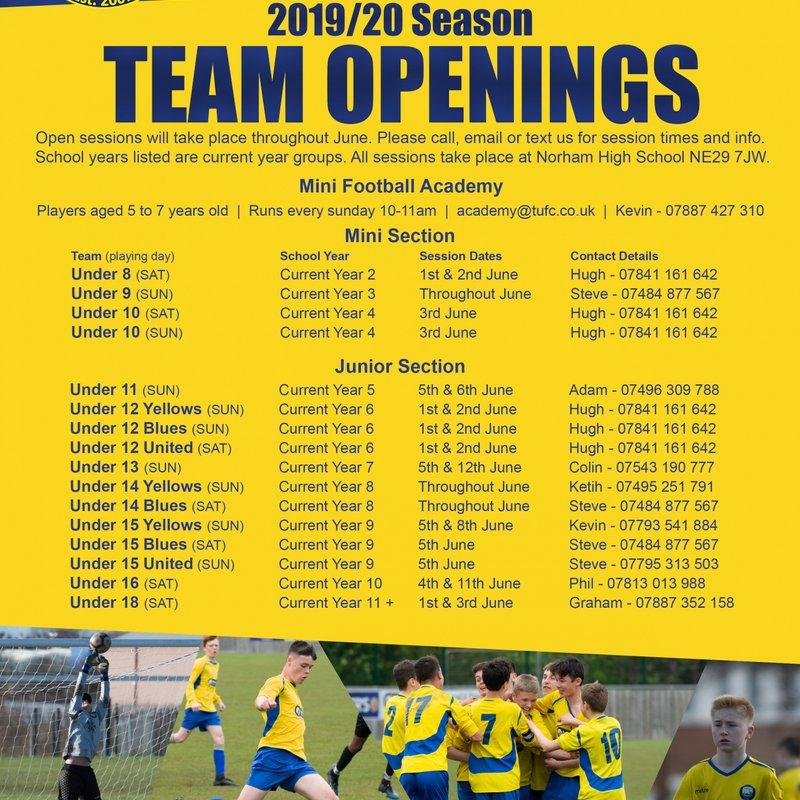 Team Openings 2019/20