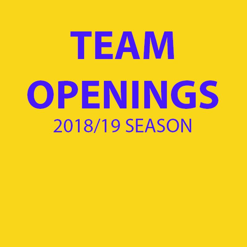 Team Openings for the 2018/19 Season