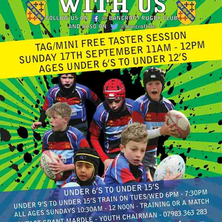 Free tag and mini rugby taster session - Sunday 17th September.