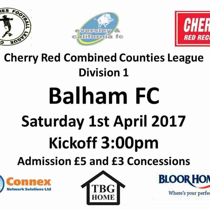 This Saturday First team at home to Balham