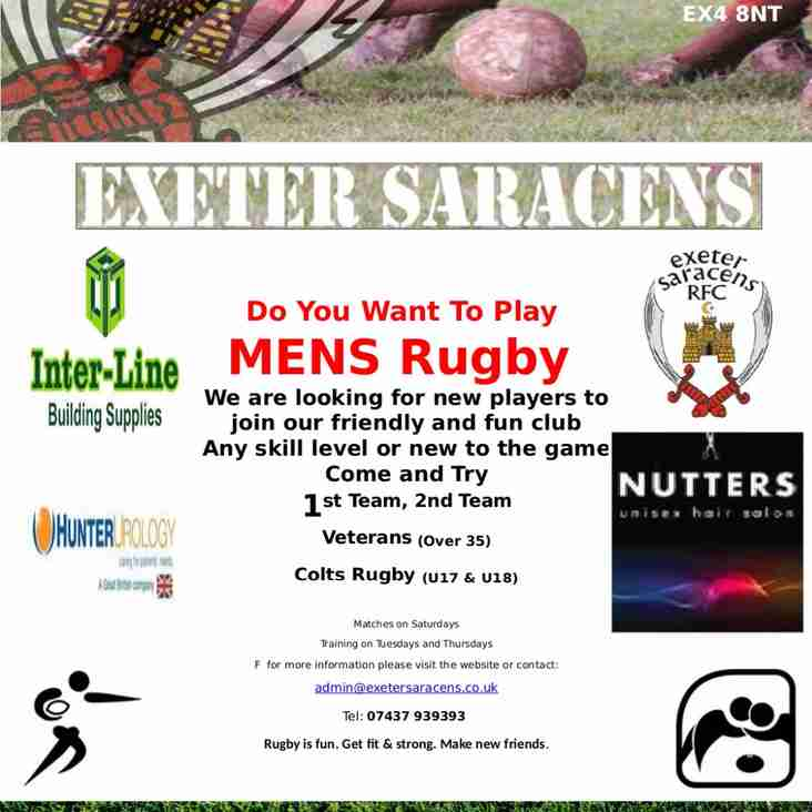 COME AND TRY RUGBY AT THE SARRIES