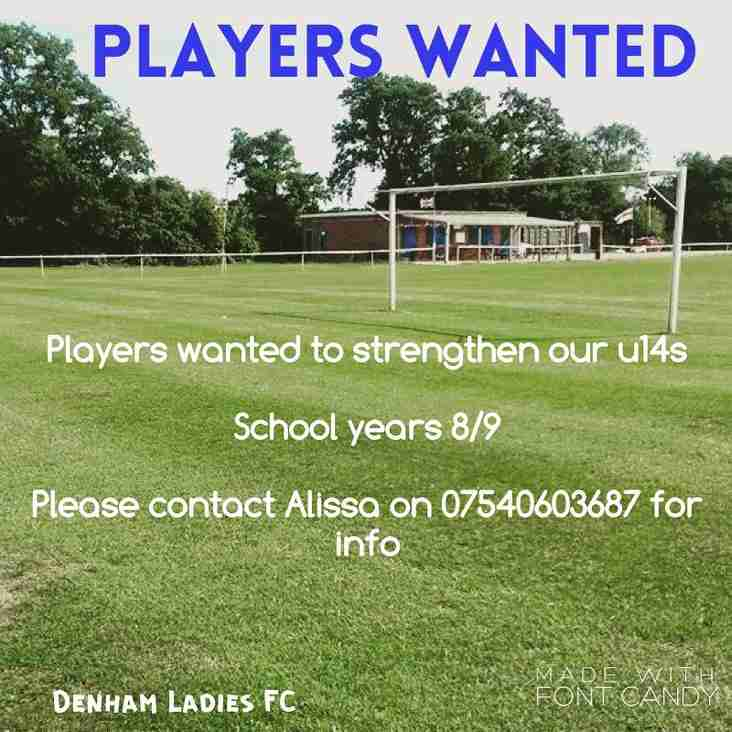 PLAYERS WANTED FOR UNDER 14's 2016/2017