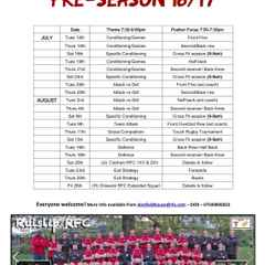 Training starts Tuesday 12 July at 7.30pm