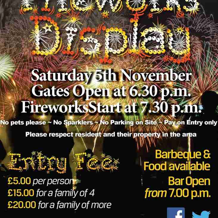 Bonfire Night Firework Display Saturday 5th November