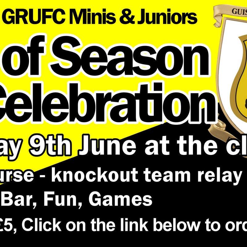 Minis and Juniors End of Season Celebration