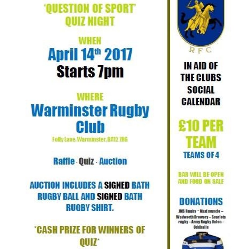 Question of Sport Quiz night! - Friday 14th April