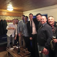 Proud Chairman & players in company of a true rugby legend
