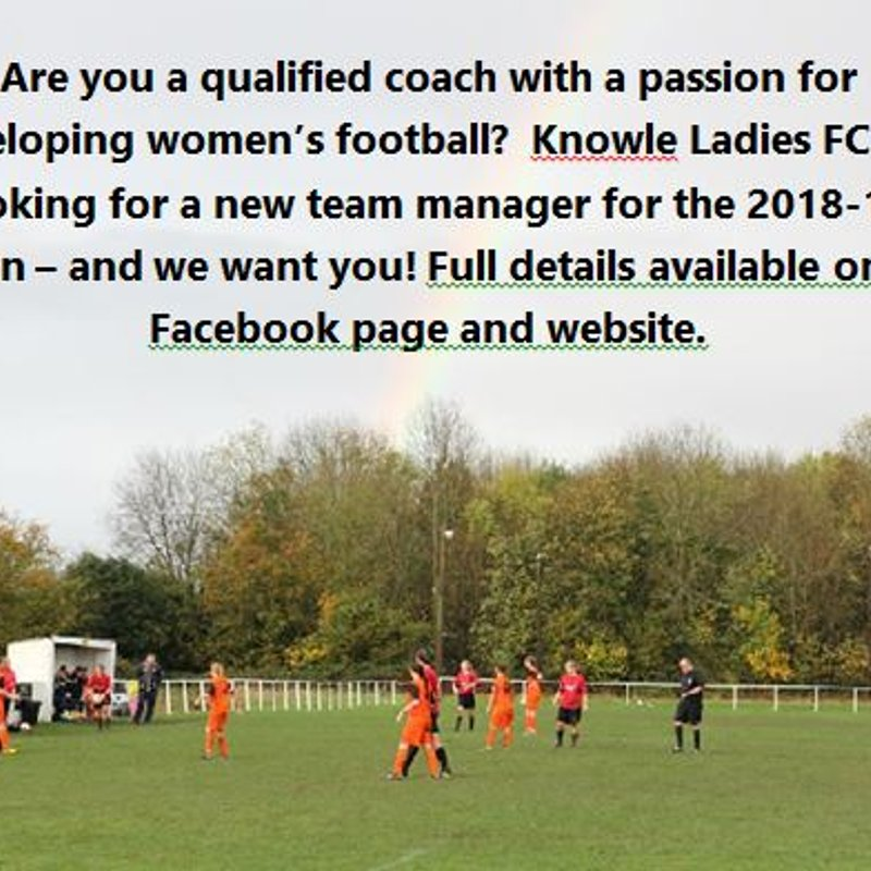 Knowle Ladies start the search for a new manager
