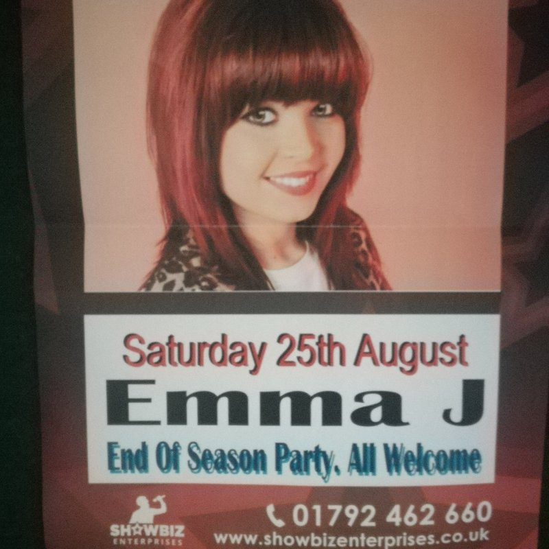 End of Season Party Saturday 25th August at 8.30pm with music from Emma J