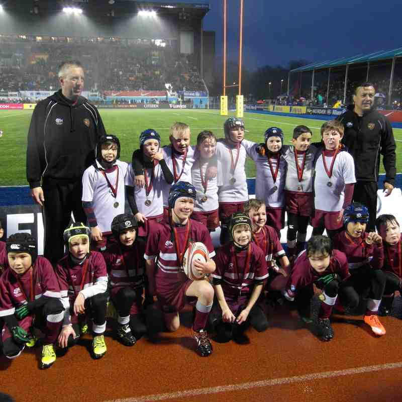A&C U9's Celebrating at Saracens v Leicester 2/1/2016