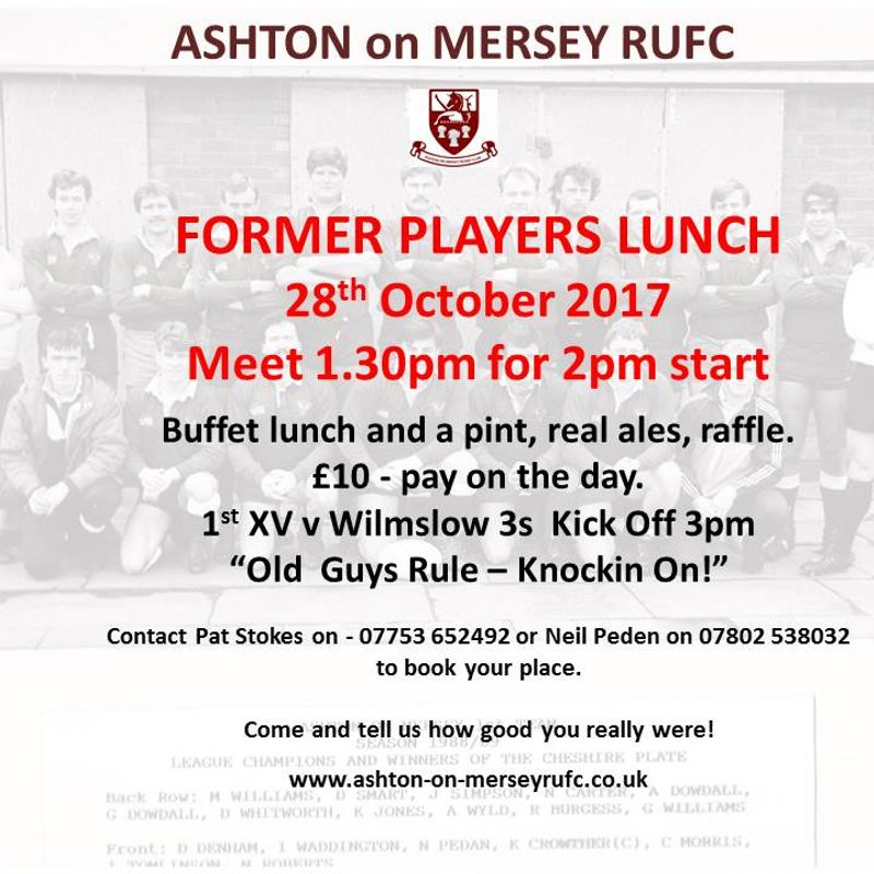 Former players lunch - Saturday 28th October from 1.30pm