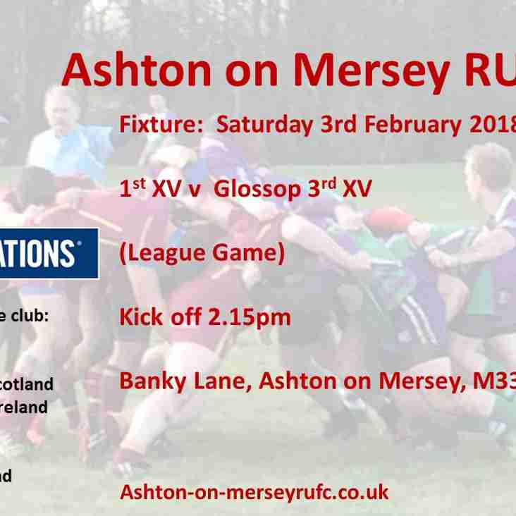 Ashton 1st XV v Glossop 3s this Saturday