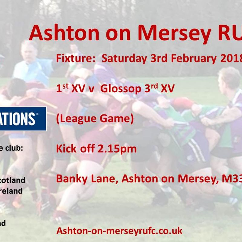 Ashton 1st XV v Glossop 3s this Saturday
