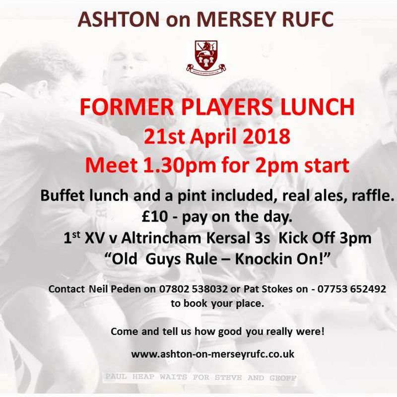 Former Players Lunch - Sat 21st April, 1.30pm for 2pm.