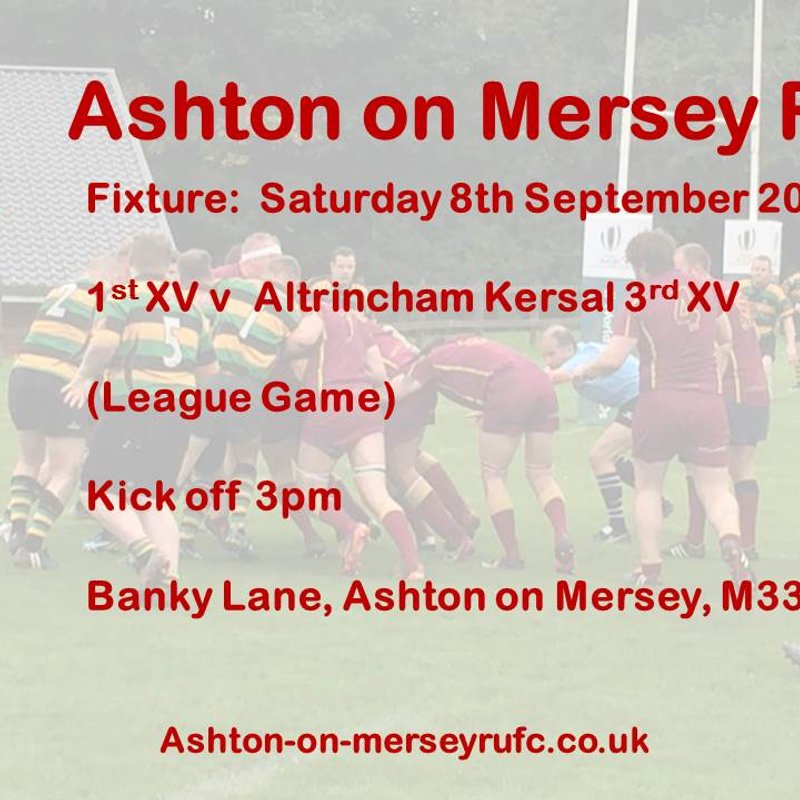 1st team at home this Saturday 8th September v Altrincham Kersal 3s