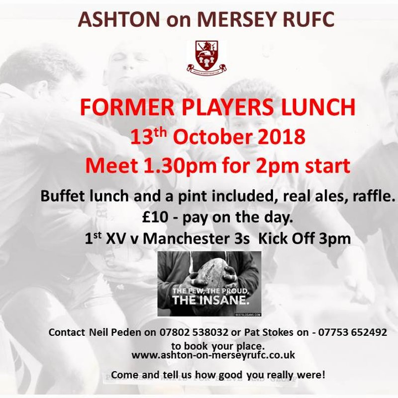 Former Players Lunch - 13th October 1.30pm for 2pm